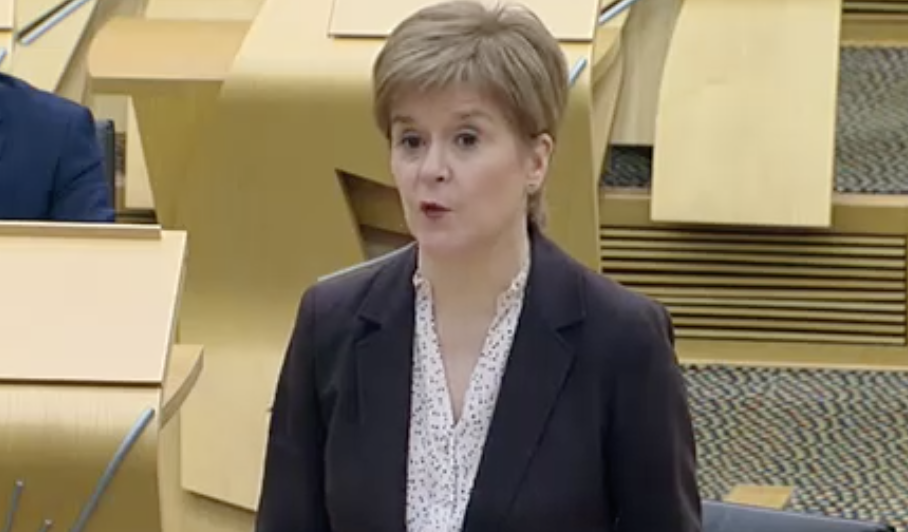 Nicola Sturgeon announcing a national lockdown in the Scottish Parliament on Monday. (Scottish Parliament TV)