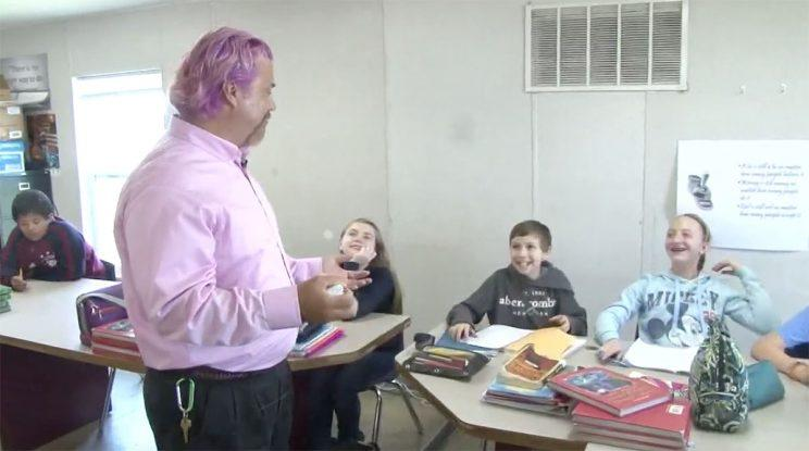 Teacher dying his hair crazy colors to raise money for student's service dog