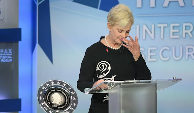 Cindy McCain presents the inaugural John McCain Prize for Leadership in Public Service to the people of the island of Lesbos, Greece, on November 2018. Photo: Canadian Press via AP