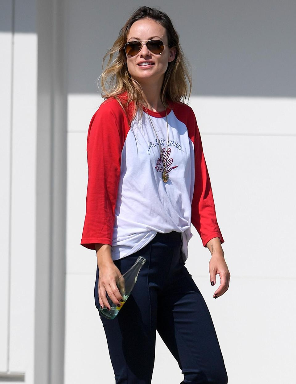 <p>Olivia Wilde is spotted hanging out in L.A. on July 25.</p>