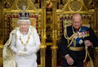 The Queen and Prince Philip attend the State Opening of Parliament in 2014. Prince Philip would attend and sit next to Elizabeth as she read out the Queen's Speech, marking the new parliament.