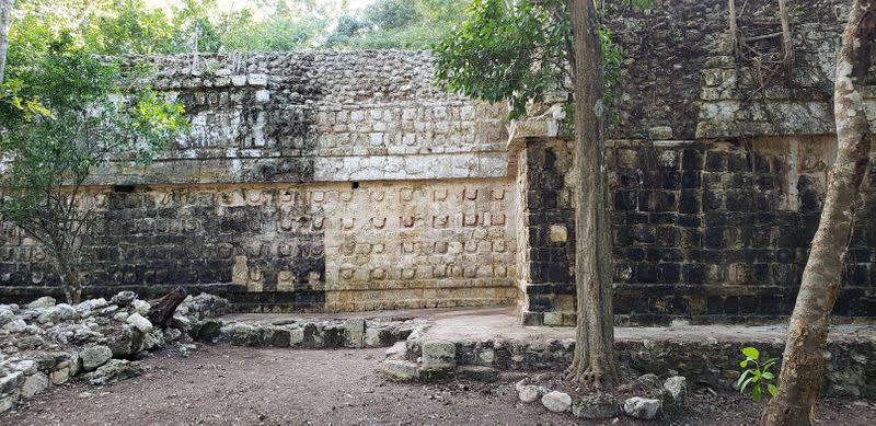 A general view shows the cleaning the stucco of the Temple of the U, located in the archaelogy area of Kuluba, in Tizimin