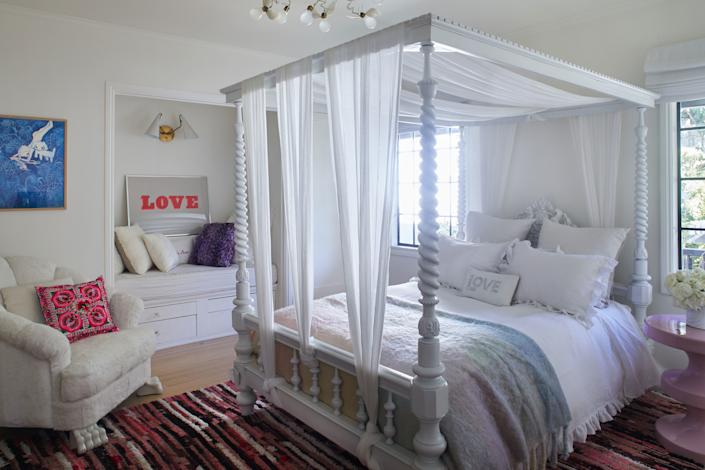 "<div class=""caption""> An all-white bedroom wasn't Dahan's 11-year-old daughter's first choice, but Dahan convinced her how fresh and clean a white palette can be. The proof? A vintage Indian bed with cream-colored Matteo bedding and Jean De Merry chair, which Dahan reupholstered with a rabbit-fur blanket. ""But I didn't have enough, so I just used white fabric in the back,"" she says. ""I get creative to make things work."" </div>"