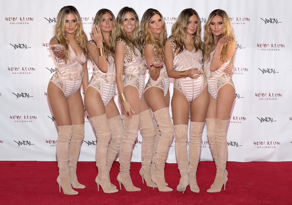 In 2016, Heidi duplicated herself and turned up to her party with five identical 'Heidis'.<em> [Photo: Getty]</em>