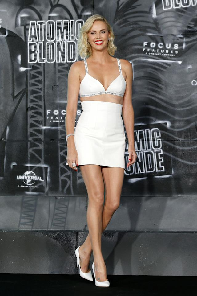 <p>At the <em>Atomic Blonde </em><span>Berlin premiere, wearing a Christian Dior bra.</span></p>