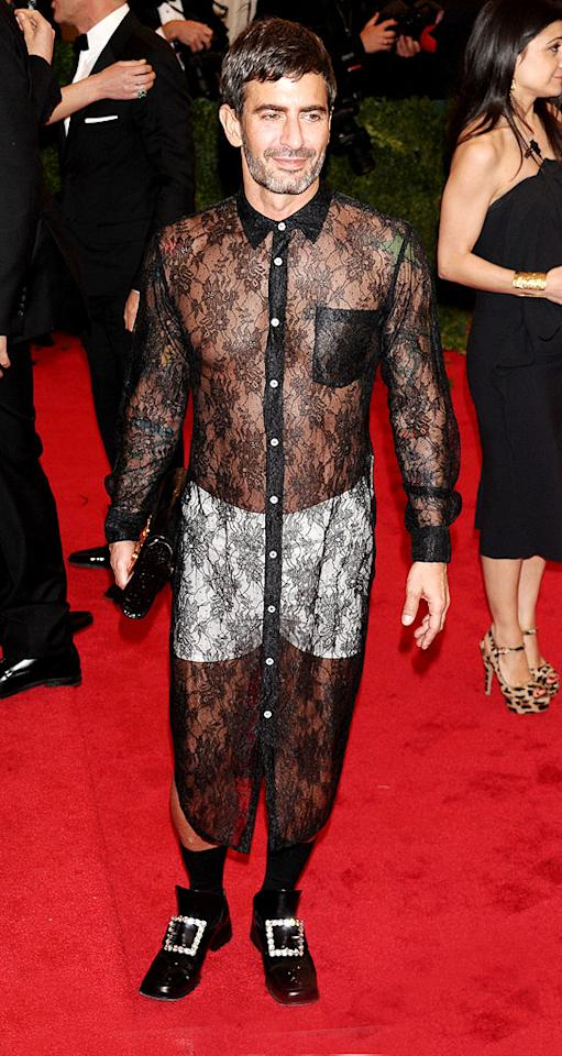 "This year's <a target=""_blank"" href=""http://omg.yahoo.com/photos/the-met-gala-1336430130-slideshow/"">Costume Institute Gala</a> delivered its fair share of fashion faux pas, but none was more outlandish than the one worn by Marc Jacobs. The eccentric designer threw a sheer, button-up Comme des Garcons dress over a pair of white boxers and topped off his ensemble with a patent leather clutch and diamond-adorned pilgrim loafers. It's an insane look for sure, but we expect nothing less from the style maven. (5/7/2012)"