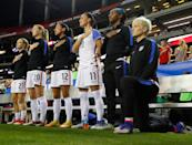Megan Rapinoe #15 kneels during the National Anthem prior to the match between the United States and the Netherlands at Georgia Dome on September 18, 2016 in Atlanta, Georgia. (Photo by Kevin C. Cox/Getty Images)