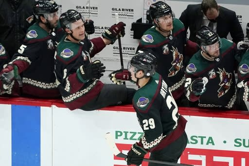 Arizona Coyotes center Barrett Hayton (29) celebrates his goal against the San Jose Sharks with teammates Jason Demers, left, Jakob Chychrun (6), Lawson Crouse (67), and Johan Larsson (22) during the first period of an NHL hockey game Saturday, Jan. 16, 2021, in Glendale, Ariz. (AP Photo/Ross D. Franklin)