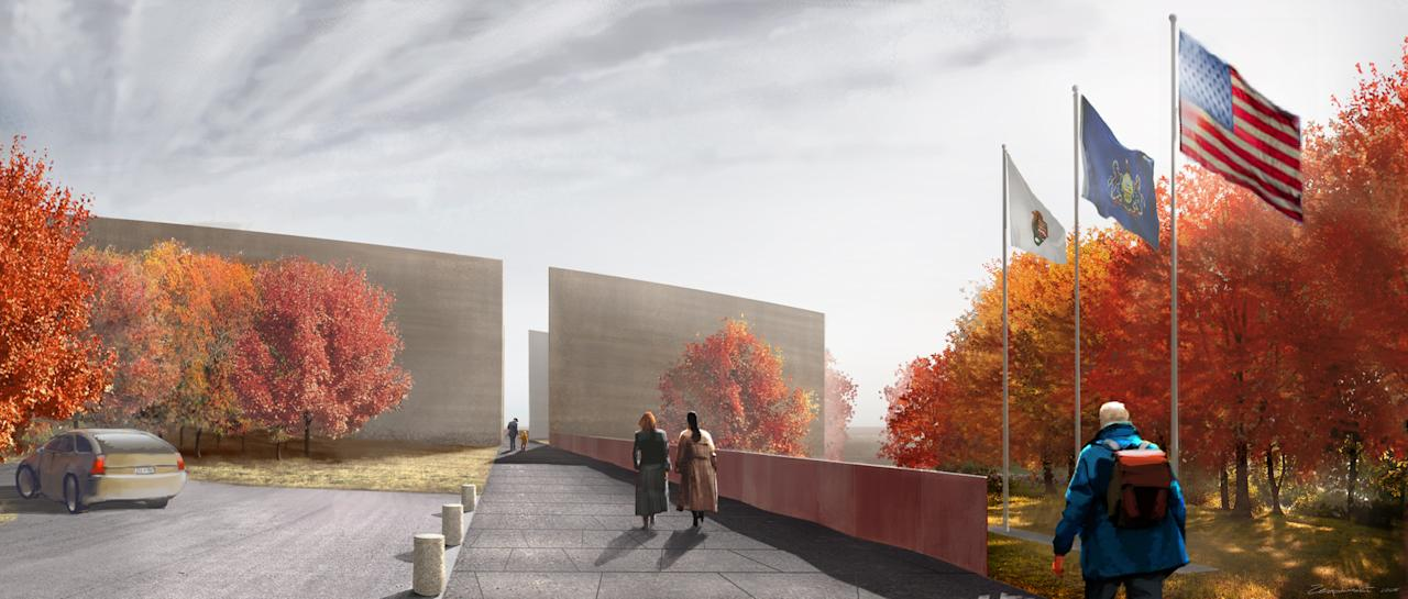 An estimated 250,000 visitors each year will enter the Field of Honor through the Entry Portal along the Flight Path walkway. Set along the final trajectory of Flight 93, visitors will immediately be brought back to 10:00 am on September 11, 2001 when Flight 93 careened in this direction toward a stand of hemlock trees. After passing through the twin walls framing the sky, visitors will be standing at an overlook with a sweeping view of the Field of Honor. (Photo by Paul Murdoch Architects)