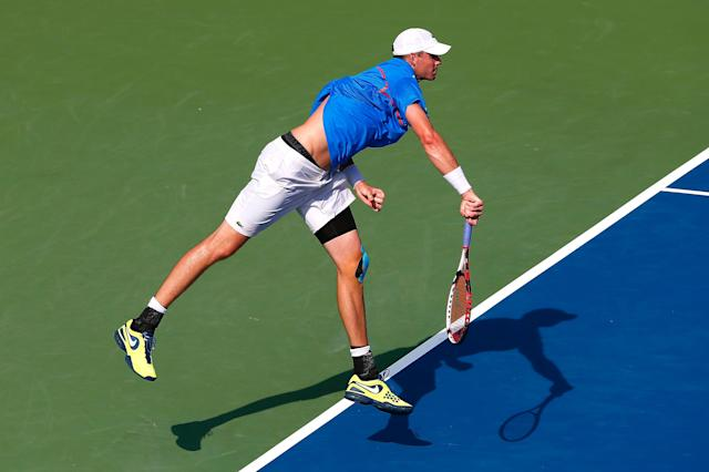 John Isner serves to Marinko Matosevic of Australia during the BB&T Atlanta Open at Atlantic Station on July 25, 2014 in Atlanta, Georgia (AFP Photo/Kevin C. Cox)