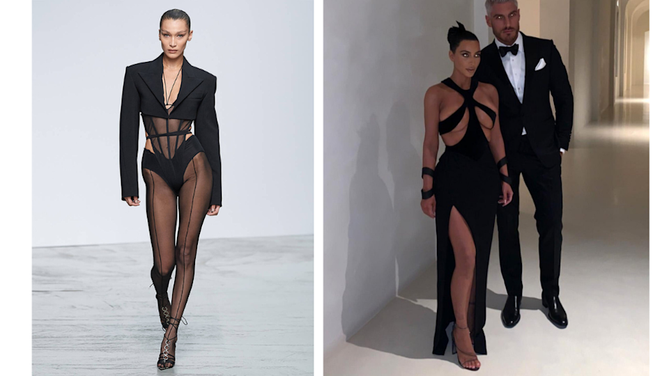 Bella Hadid and Kim Kardashian wearing Mugler