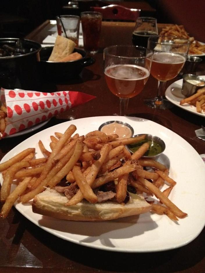 """<p><a href=""""http://www.bruggebrasserie.com/index.html"""" rel=""""nofollow noopener"""" target=""""_blank"""" data-ylk=""""slk:Brugge Brasserie"""" class=""""link rapid-noclick-resp"""">Brugge Brasserie</a>, Indianapolis</p><p>""""Authentic Mussels and Fries, the best frites sauces, and of course they make their ownbeer and sodas. Best bet is to go in the middle of the week during the summer. Lots of dogs and people watching!"""" -Foursquare user <a href=""""https://foursquare.com/user/350038"""" rel=""""nofollow noopener"""" target=""""_blank"""" data-ylk=""""slk:Dana Parker"""" class=""""link rapid-noclick-resp"""">Dana Parker</a></p>"""