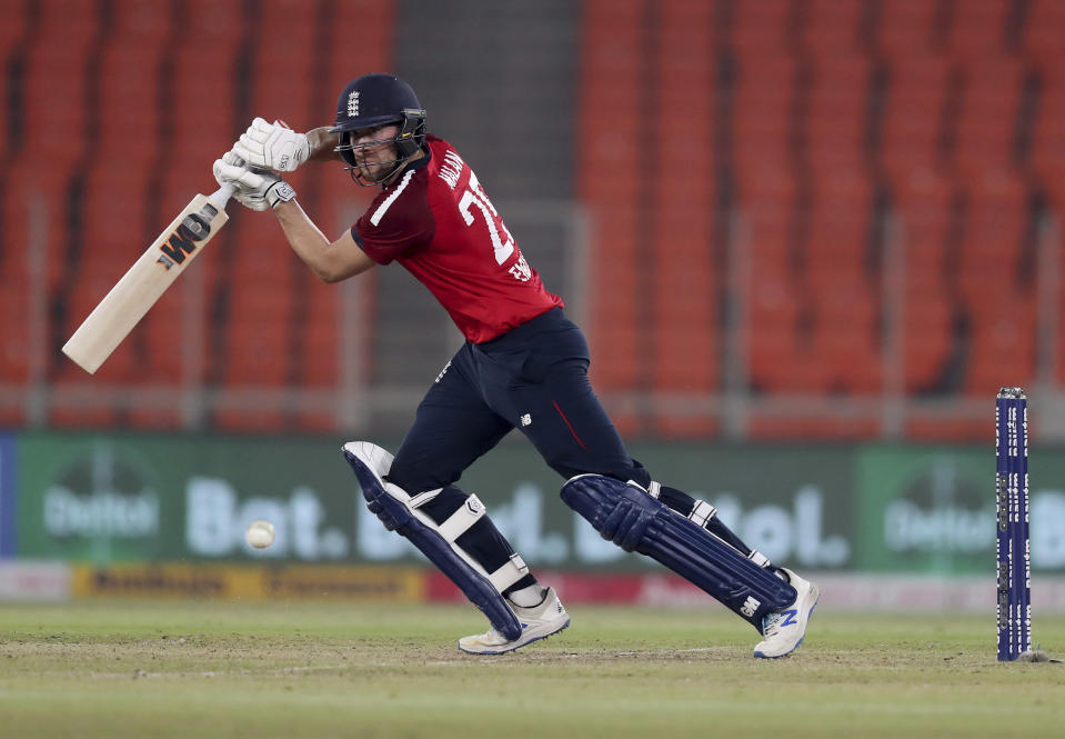 England's Dawid Malan bats during the fifth Twenty20 cricket match between India and England at Narendra Modi Stadium in Ahmedabad, India, Saturday, March 20, 2021. (AP Photo/Ajit Solanki)
