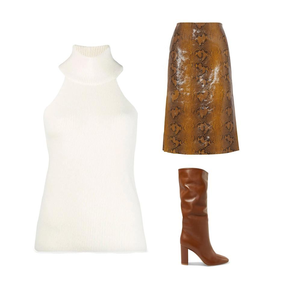 "<p>It's never too late to embrace the snakeskin trend with a Marni python skirt and slouchy boot.</p> <p><strong>Buy now:</strong> Marni skirt, $1,690, <a>net-a-porter.com</a>​. Jacquemus sweater, $256, <a href=""https://www.farfetch.com/shopping/women/jacquemus-sleeveless-turtle-neck-swe%20ater-item-14336077.aspx?storeid=11648"">farfetch.com</a>​. Gianvito Rossi boots, $1,695, <a>net-a-porter.com</a>​.</p>"