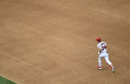 Jun 9, 2018; Washington, DC, USA; Washington Nationals center fielder Bryce Harper (34) rounds the bases after hitting a solo homer against the San Francisco Giants during the fourth inning at Nationals Park. Mandatory Credit: Brad Mills-USA TODAY Sports