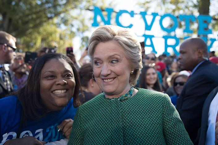 <p>Hillary Clinton greets supporters during a campaign event at Saint Augustine's University, Sunday, Oct. 23, 2016, in Raleigh, N.C. (AP Photo/Mary Altaffer) </p>