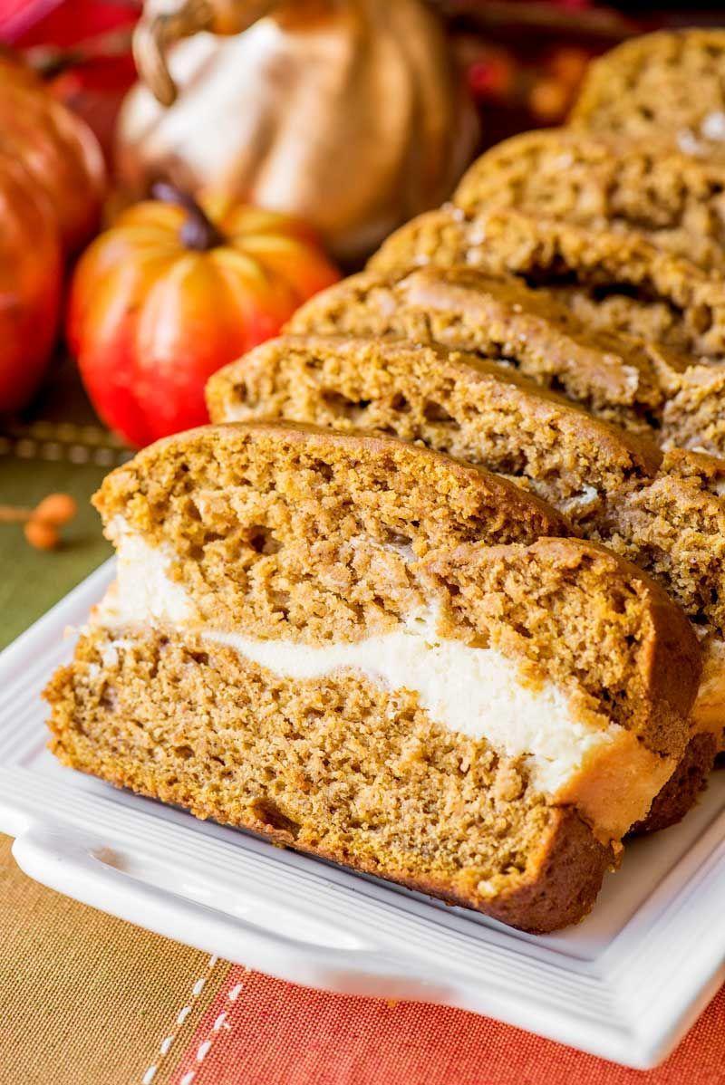 """<p>How can you instantly make an already super-moist pumpkin bread recipe even more mouthwatering? By adding in a layer of sweet cream cheese filling.</p><p><strong>Get the recipe at <a href=""""https://homemadehooplah.com/cream-cheese-filled-pumpkin-bread/"""" rel=""""nofollow noopener"""" target=""""_blank"""" data-ylk=""""slk:Homemade Hooplah"""" class=""""link rapid-noclick-resp"""">Homemade Hooplah</a>.</strong> </p>"""