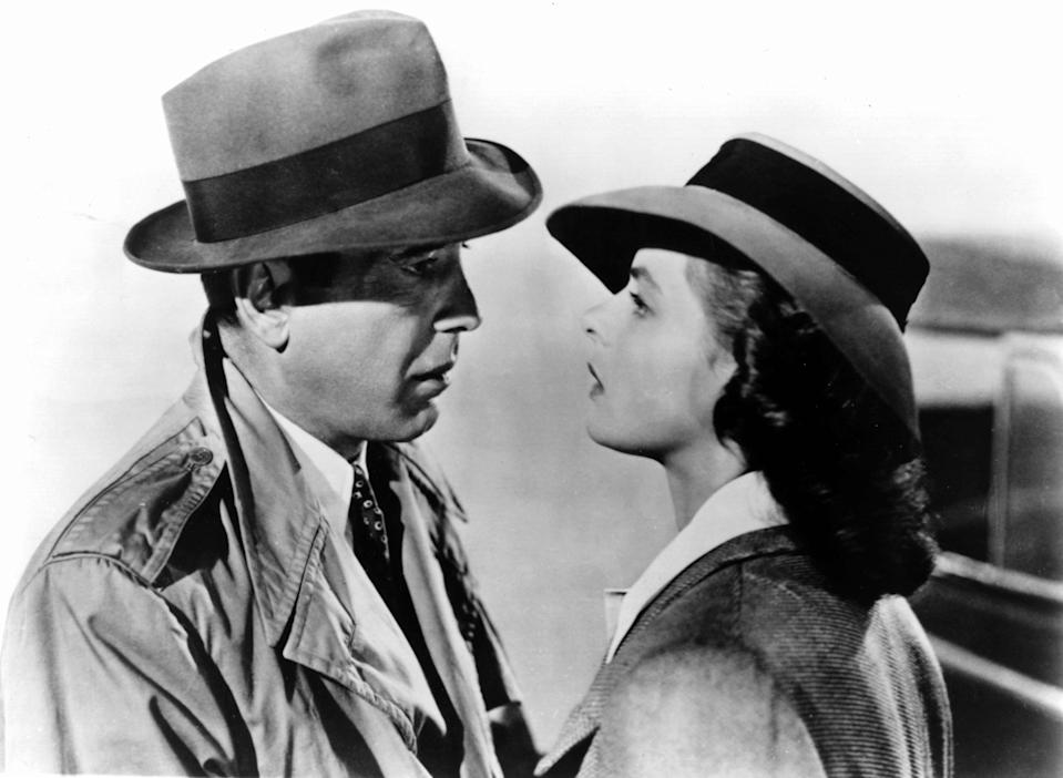 "Humphrey Bogart (left) and Ingrid Bergman play former lovers in a complicated situation in ""Casablanca."""