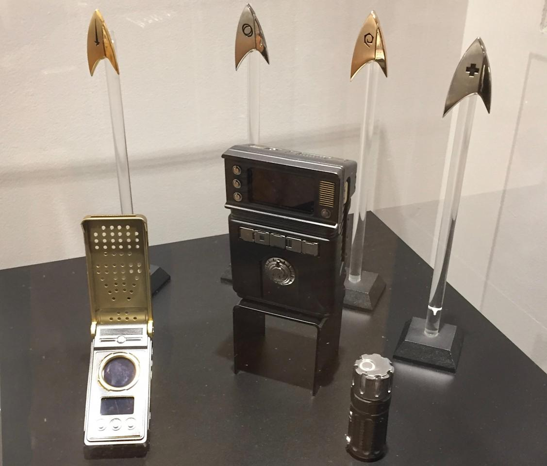 <p>The <em>Discovery</em> production designers stayed as close as possible to the look of <em>The Original Series</em> when it came to creating the communicator, tricorder, and insignia deltas. (Photo: Marcus Errico/Yahoo TV) </p>