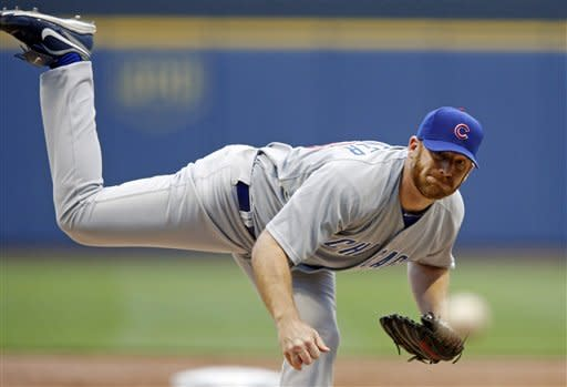Chicago Cubs' pitcher Ryan Dempster pitches to a Milwaukee Brewer batter during the first inning of a baseball game, Tuesday, June 5, 2012, in Milwaukee. (AP Photo/Tom Lynn)