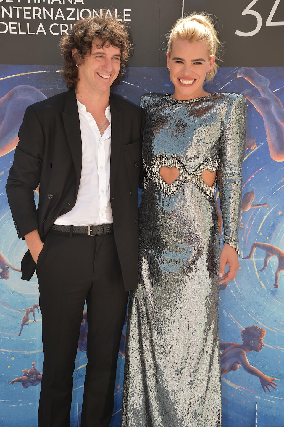 "VENICE, ITALY - AUGUST 31: Johnny Lloyd and director Billie Piper attends the ""Rare Beasts"" Photocall at the 76th Venice Film Festival on August 31, 2019 in Venice, Italy. (Photo by Theo Wargo/Getty Images)"