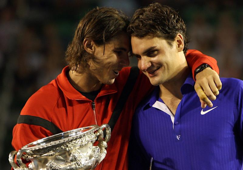 Rafael Nadal and Roger Federer at the 2009 Australian Open. (AP Photo/Rick Stevens)