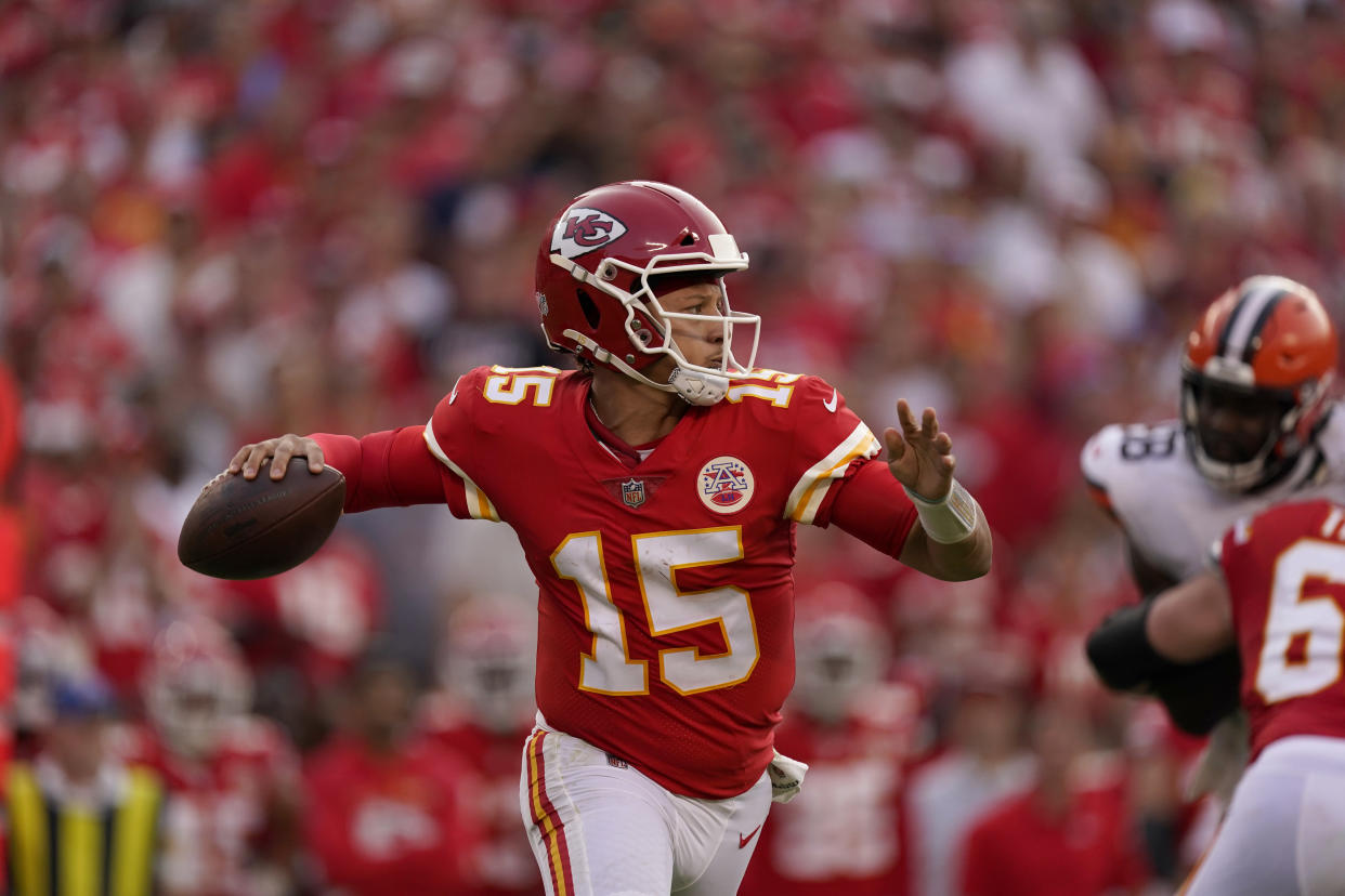 Kansas City Chiefs quarterback Patrick Mahomes will be featured on Sunday night in Week 2. (AP Photo/Charlie Riedel)