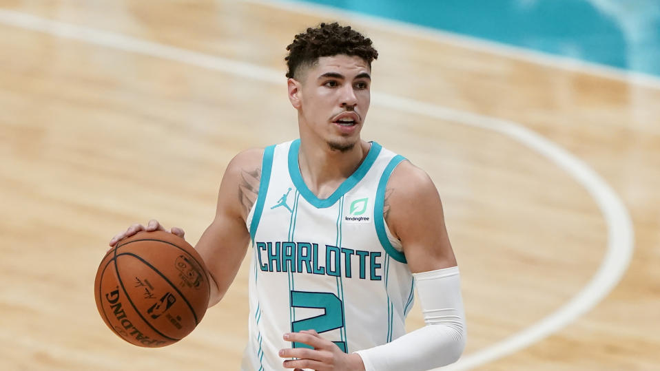 Charlotte Hornets guard LaMelo Ball plays against the Toronto Raptors.