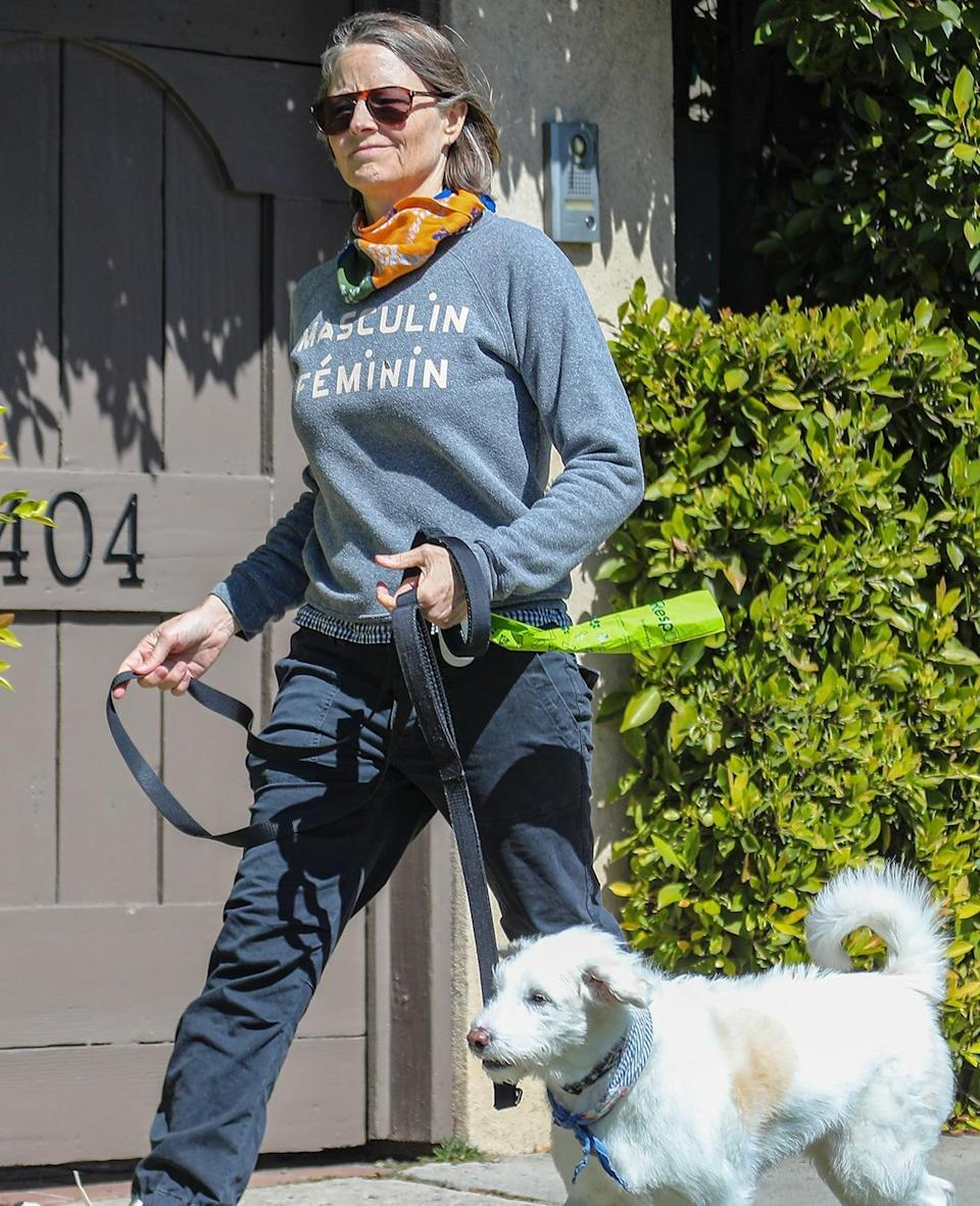 <p>Jodie Foster takes pup Ziggy out for a walk through Brentwood, California on Tuesday.</p>