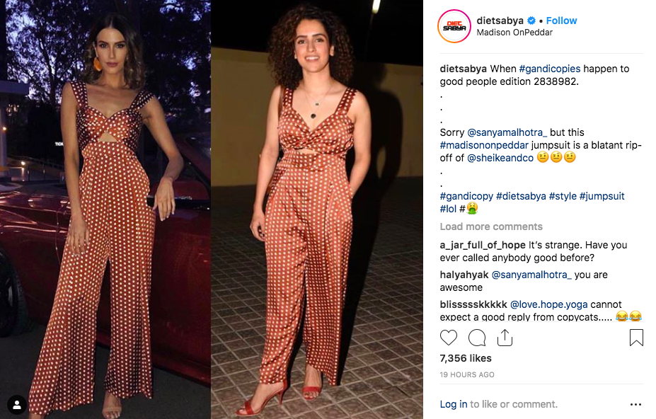 <p>Recently, Sanya Malhotra was called out for wearing a jumpsuit that was ripped off by a designer. </p>