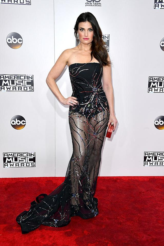 <p>Broadway star Idina Menzel made her full transformation into a Hollywood star by rocking a naked dress. <em>(Photo: Getty Images)</em> </p>