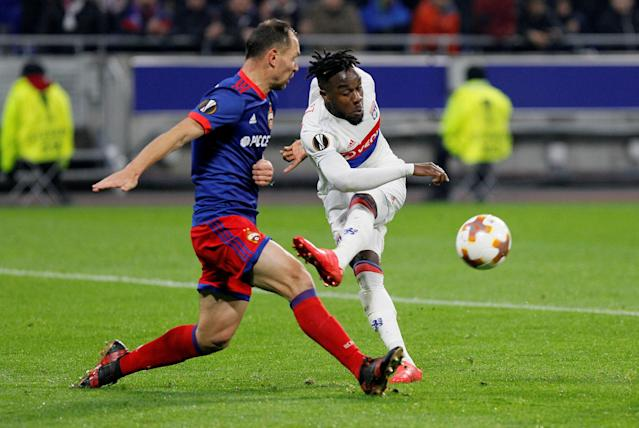 Soccer Football - Europa League Round of 16 Second Leg - Olympique Lyonnais vs CSKA Moscow - Groupama Stadium, Lyon, France - March 15, 2018 Lyon's Maxwel Cornet shoots at goal REUTERS/Emmanuel Foudrot