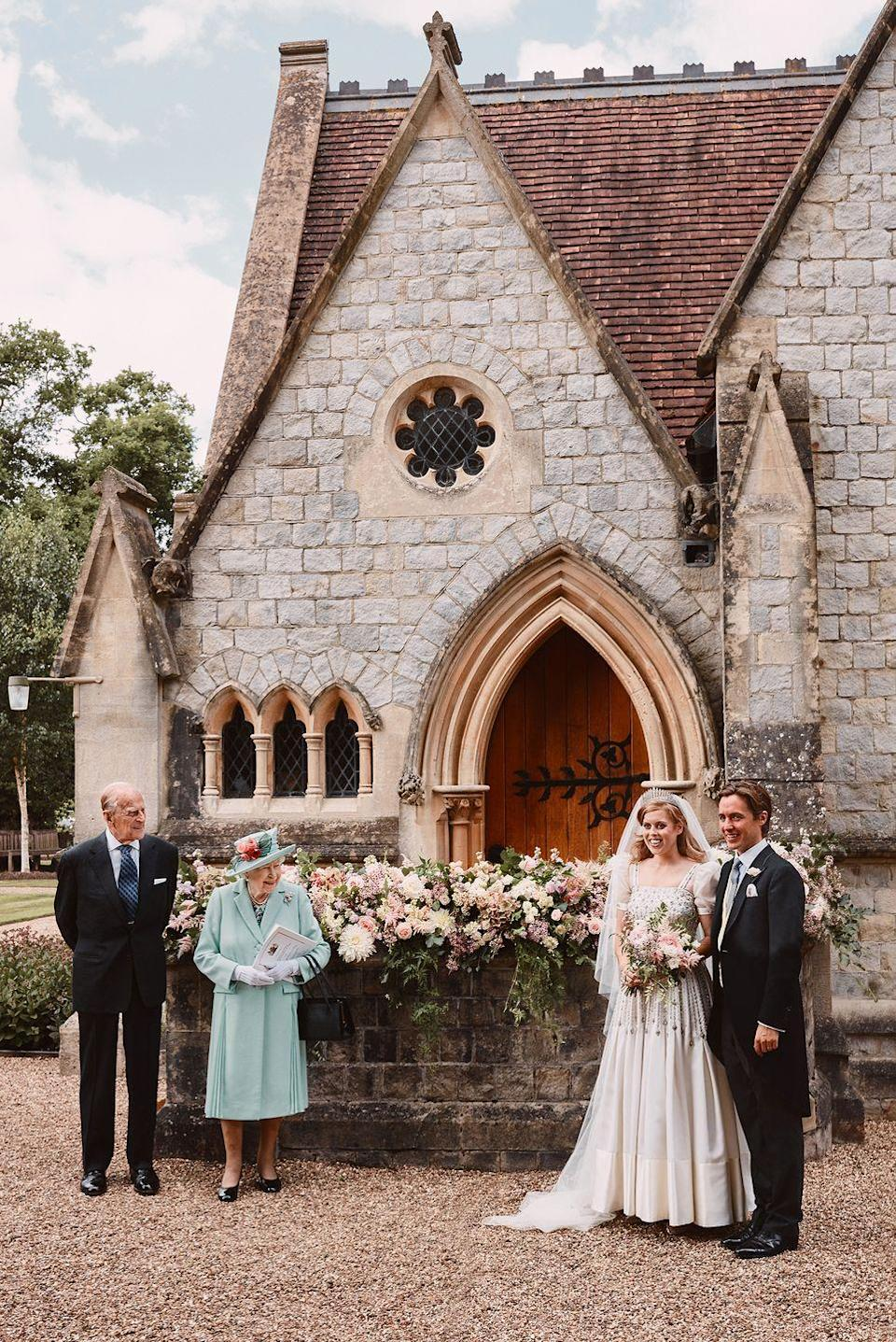 """<p>For <a href=""""https://www.townandcountrymag.com/society/tradition/a29242832/princess-beatrice-edoardo-mapelli-mozzi-wedding/"""" rel=""""nofollow noopener"""" target=""""_blank"""" data-ylk=""""slk:their surprise nuptials"""" class=""""link rapid-noclick-resp"""">their surprise nuptials</a>, Princess Beatrice and Edoardo Mapelli Mozzi were joined by the bride's grandparents, Queen Elizabeth and the Duke of Edinburgh, Mapelli Mozzi's parents, and their siblings. Mapelli Mozzi's son Wolfie served as the best man and page boy.</p>"""
