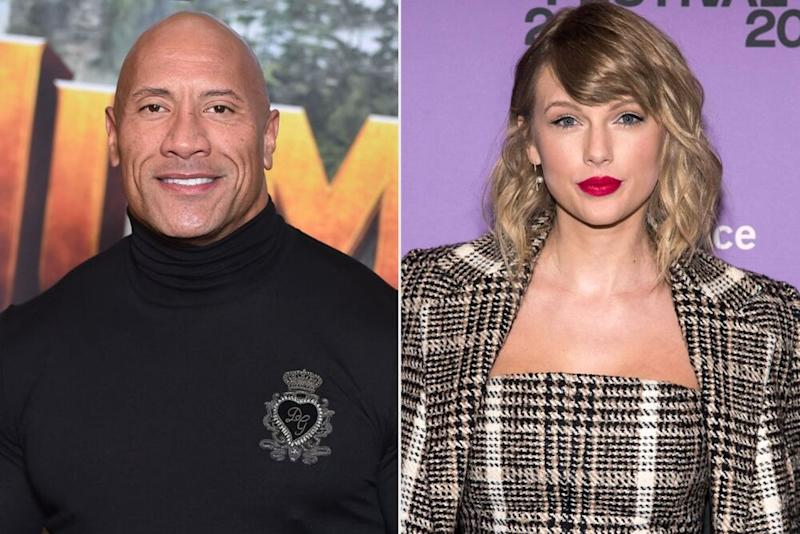 Dwayne Johnson; Taylor Swift | Stephane Cardinale - Corbis/Corbis via Getty; Charles Sykes/Invision/AP/Shutterstock