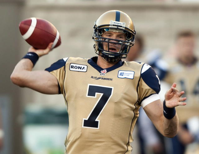 Winnipeg Blue Bombers quarterback Alex Brink makes a pass against the Montreal Alouettes during first quarter Canadian Football League pre-season action Thursday, June 14, 2012 in Montreal. THE CANADIAN PRESS/Ryan Remiorz