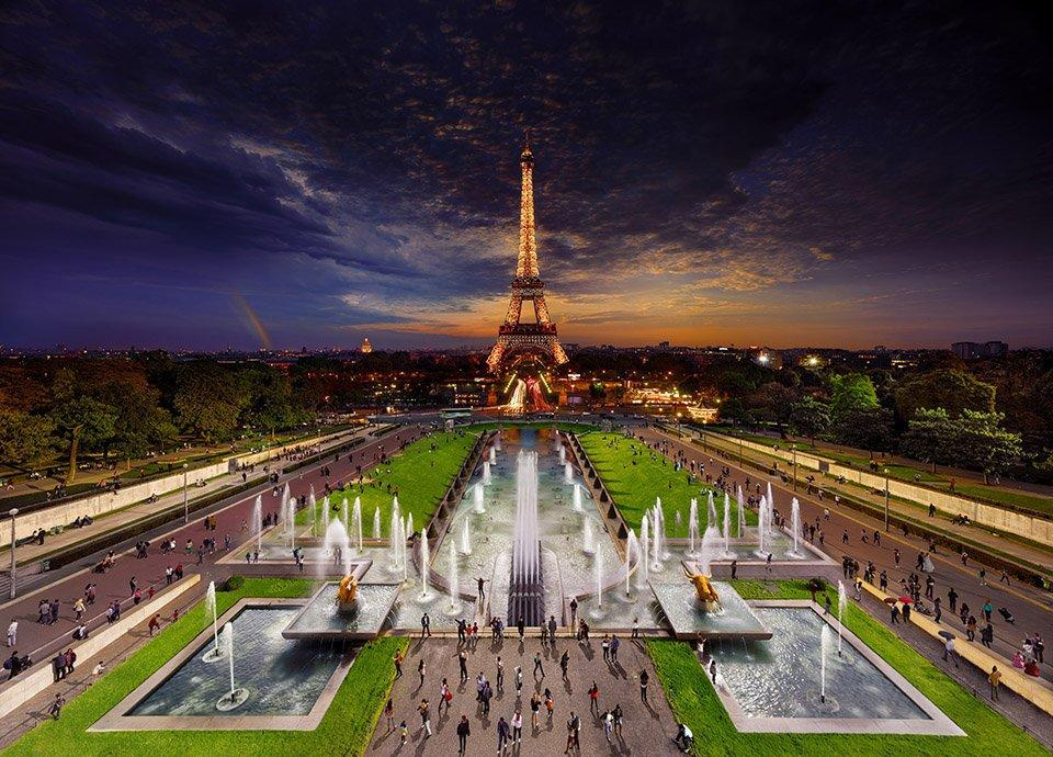The impressive images include the Eiffel Tower in Paris [Picture: Stephen Wilkes]