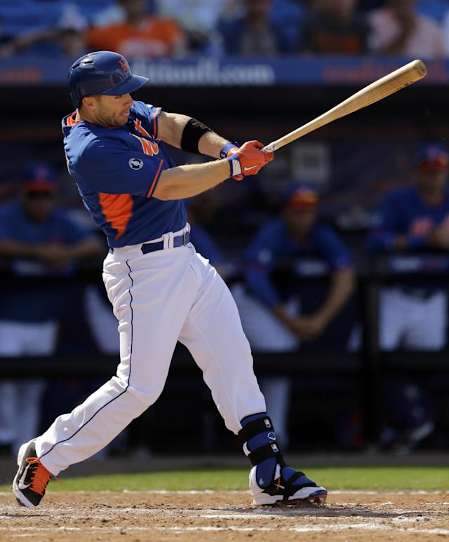 New York Mets' David Wright grounds into a double play during the fourth inning of an exhibition spring training baseball game against the St. Louis Cardinals, Friday, March 7, 2014, in Port St. Lucie, Fla. (AP Photo/Jeff Roberson)
