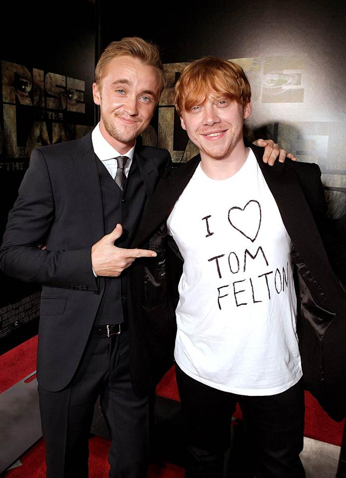 "Now that's a true pal! ""Harry Potter"" co-stars Tom Felton and Rupert Grint hit up the ""Rise of the Planet of the Apes"" premiere held at Grauman's Chinese Theatre in Hollywood on Thursday, where Rupert proved he's Tom's number-one fan. Todd Williamson/<a href=""http://www.wireimage.com"" target=""new"">WireImage.com</a> - July 28, 2011"