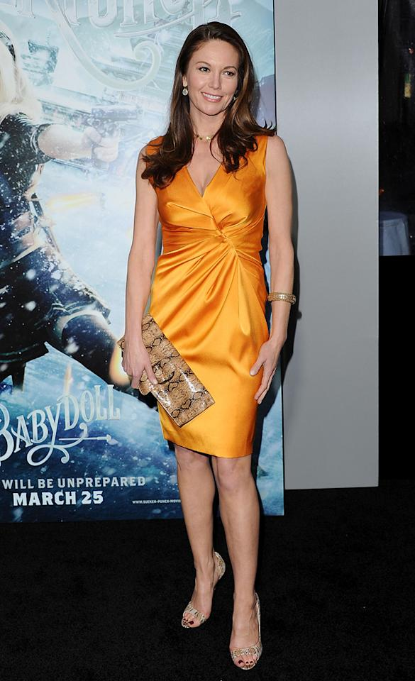"""<a href=""""http://movies.yahoo.com/movie/contributor/1800020036"""">Diane Lane</a> at the Los Angeles premiere of <a href=""""http://movies.yahoo.com/movie/1810133258/info"""">Sucker Punch</a> on March 23, 2011."""