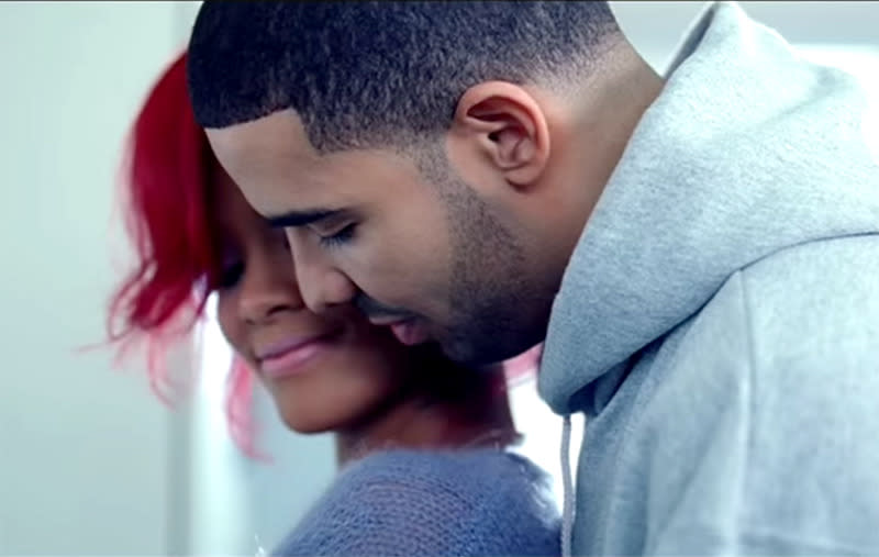 "<p>Rihanna and Drake teamed up for their first of many collaborations and megahits. They released ""What's My Name?"" and went on to deliver some steamy performances, including one at the 2011 Grammy Awards. (Photo: Vevo) </p>"