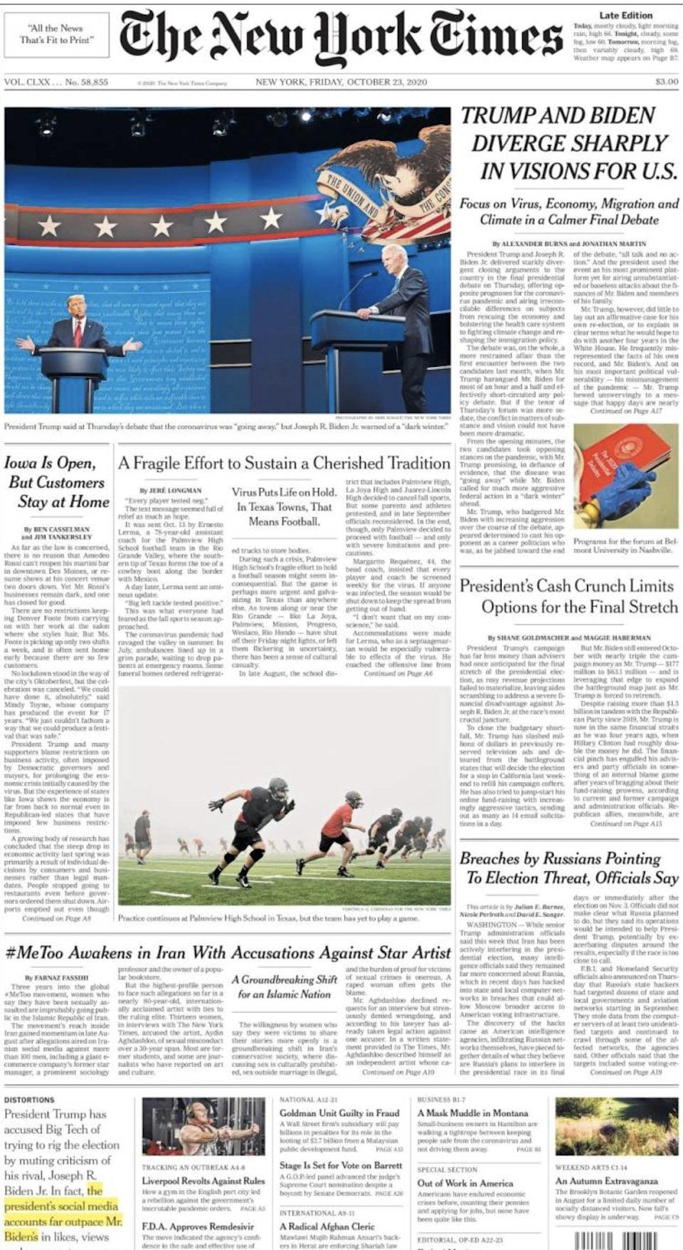 Friday's front page of the New York Times