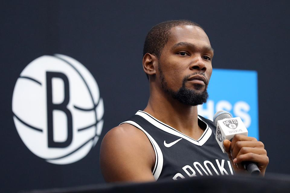 Kevin Durant #7 of the Brooklyn Nets speaks to media during Brooklyn Nets Media Day at HSS Training Center on September 27, 2019 in the Brooklyn Borough of New York City. (Photo: Mike Lawrie/Getty Images)