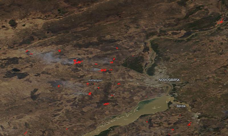 Image: A satellite image showing wildfires in the Novosibirsk Region, south Siberia on April 27, 2020 (NASA)