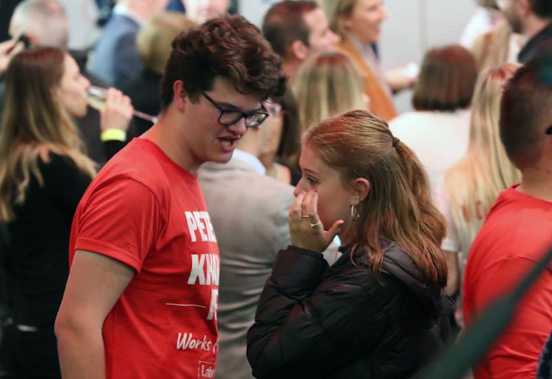 Labor supporters get emotion as they watch the tally count at the Federal Labor Reception at Hyatt Place Melbourne. Source: AAP