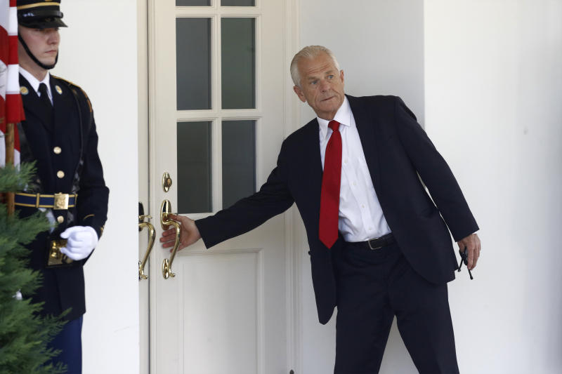 White House trade adviser Peter Navarro enters the West Wing shortly before Mexican President Andres Manuel Lopez Obrador arrives to meet with President Donald Trump at the White House in Washington, Wednesday, July 8, 2020. (AP Photo/Patrick Semansky)