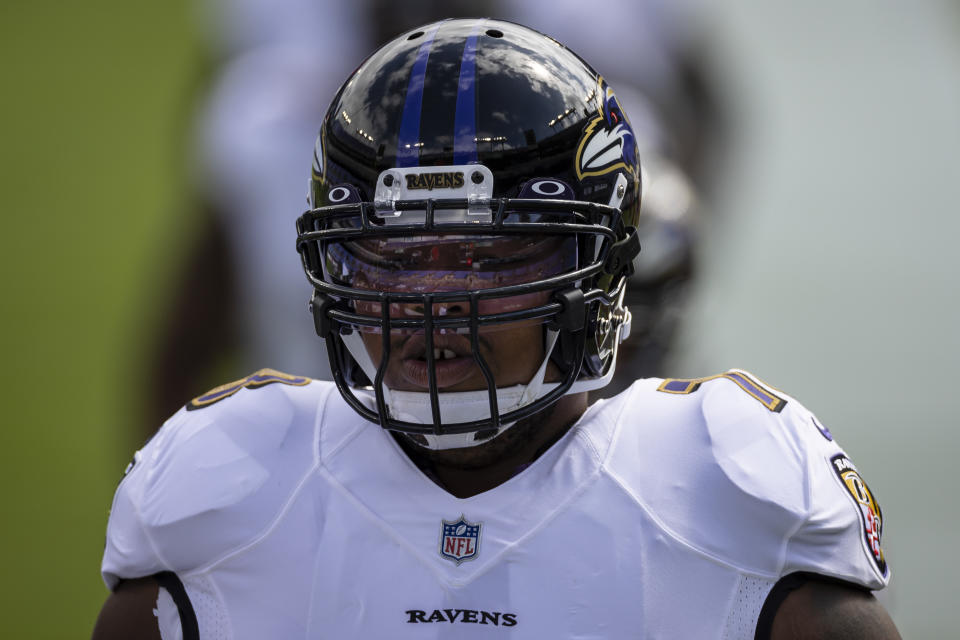 BALTIMORE, MD - SEPTEMBER 13: Orlando Brown Jr. #78 of the Baltimore Ravens warms up before the game against the Cleveland Browns at M&T Bank Stadium on September 13, 2020 in Baltimore, Maryland. (Photo by Scott Taetsch/Getty Images)