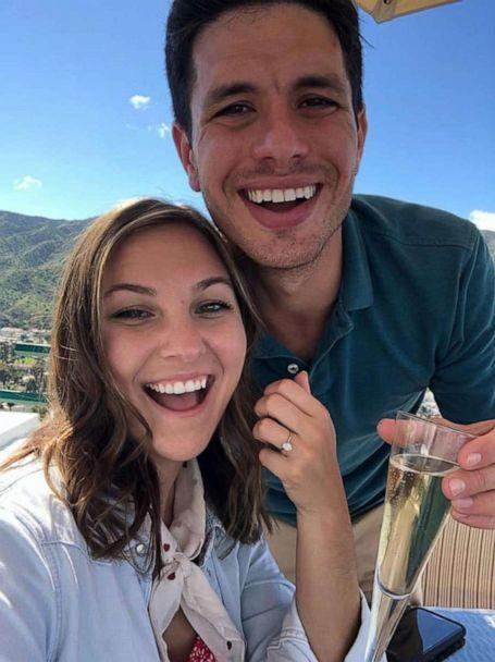 <p>Tavi Kaunitz and her fiance Tom Lerner, pose for a photo after their engagement. The couple had to postpone their wedding earlier this year due to COVID-19. (Courtesy of Tavi Kaunitz and Tom Lerner)