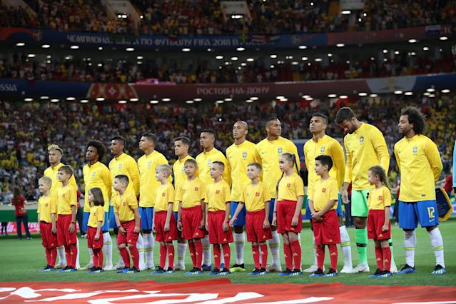 Soccer Football - World Cup - Group E - Brazil vs Switzerland - Rostov Arena, Rostov-on-Don, Russia - June 17, 2018 Brazil players line up during the national anthems before the match REUTERS/Marko Djurica