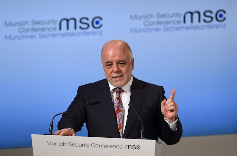 Prime Minister of Iraq Haider Al-Abadi during a talk at the second day of the 53rd Munich Security Conference (MSC) on February 18, 2017