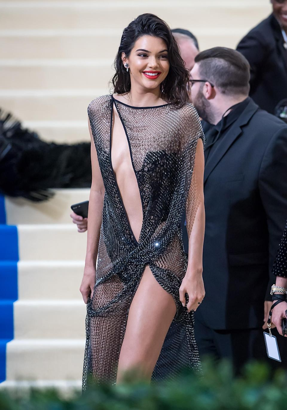 Kendall Jenner stunned at the Met Gala 2017 in a very revealing dress. (Photo: Getty Images)